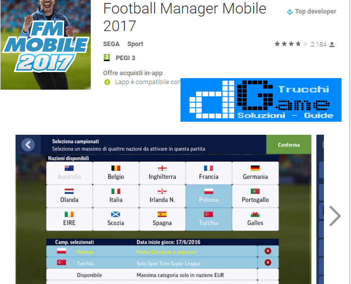 Trucchi Football Manager Mobile 2017 Mod Apk Android v8.0