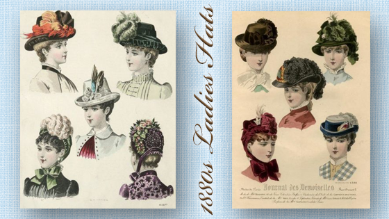 Kristin Holt | Madam, is that a duck on your hat? 1880s Ladies Hats (contains two fashion plates from the 1880s, showing colorized styles for the era).
