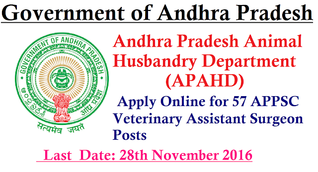 APAHD Recruitment 2017 -2016 Apply Online 57 APPSC Veterinary Assistant Surgeon Posts. To fill the empty posts of 57 APPSC Veterinary Assistant Surgeons, Andhra Pradesh Animal Husbandry Department (APAHD) has officially released employment advertisement. Job seekers looking for Latest Andhra Pradesh Govt Jobs 2016 are pleased to apply for this advertisement in offline format. Clear process for submit APAHD Veterinary Assistant Surgeon Application Form 2016 and direct link has provied below, Last date for submit the application has declared as 28th November 2016./2016/11/apahd-recruitment-2017-2016-apply-online-APPSC-veterinary-assistant-surgeon-posts.html