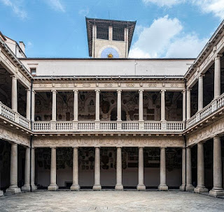 The inner courtyard at Palazzo del Bò, where Scamozzi designed a new facade