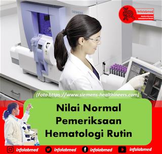 Nilai Normal Pemeriksaan Hematologi Rutin