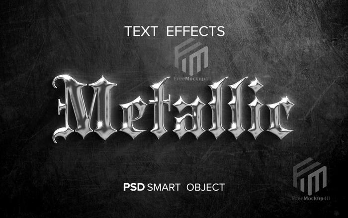 Creative Metallic Text Effect Psd Mockup