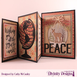 Stamp Set: Christmas Wishes Paper Collection: Christmas Card 2015 Custom Dies: Four Panel Card with Layers, Christmas Dove, Globe & Stand, Peace & Joy, Pine Branches, Double Stitched Rectangles