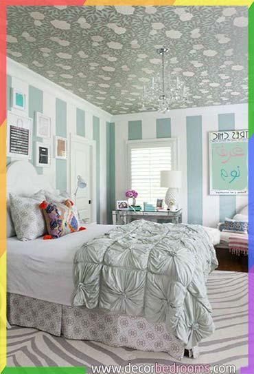 غرفة نوم مريحة رمادية وتركوازية