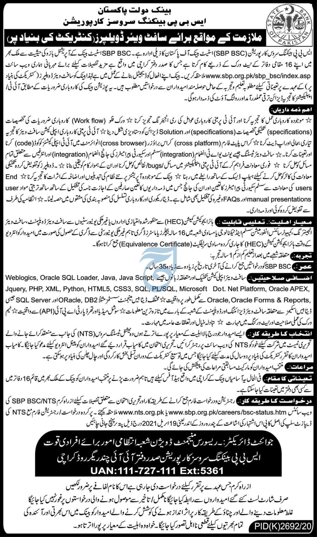 State Bank of Pakistan SBP Jobs 2021