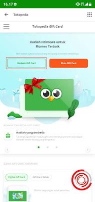 2. Kemudian pilih Redeem Gift Card