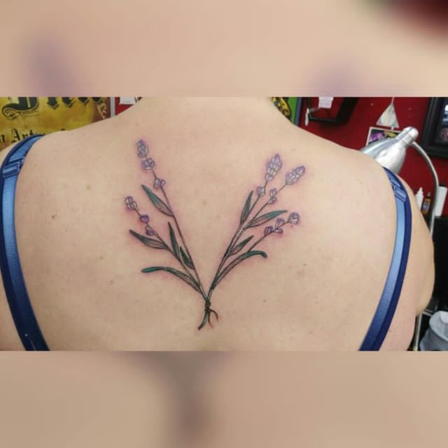 full back Lavender Plant Tattoo