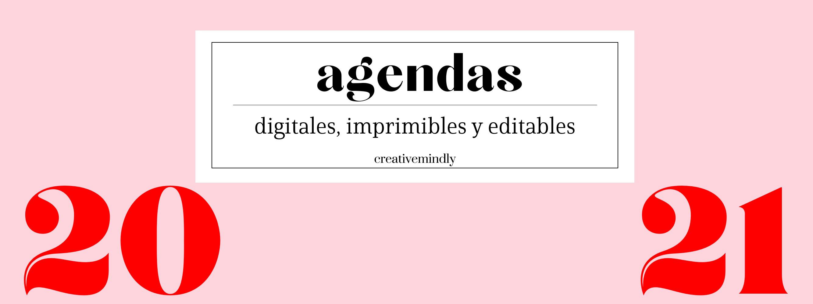 Agenda digital editable imprimible 2021