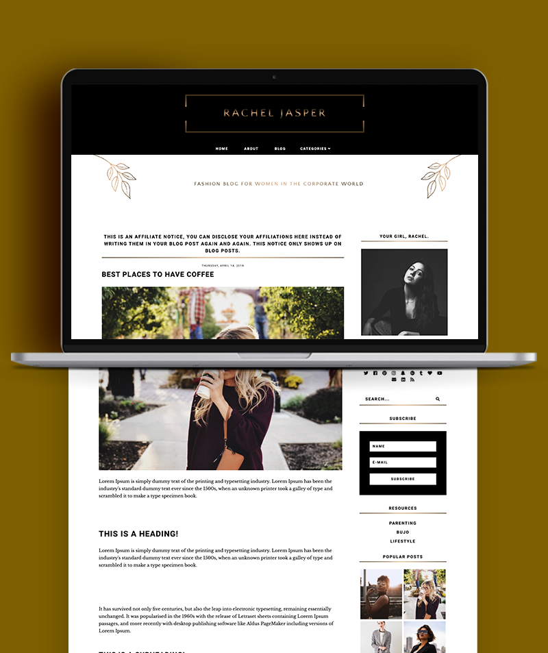 blog post page for Rachel Jasper blogger template