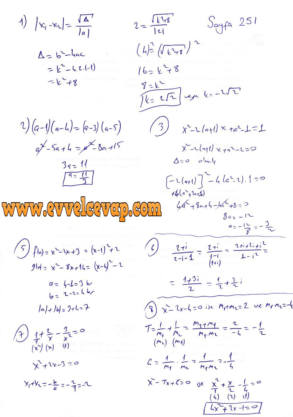 10. Sınıf Matematik Tuna Yayınları Ders Kitabı 251. Sayfa Çözümleri