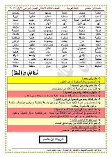 مذكرة ابن عاصم في اللغة العربية للصف الثالث الابتدائي الترم الأول