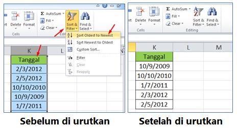 Cara Mengurutkan Tanggal atau Waktu di Excel