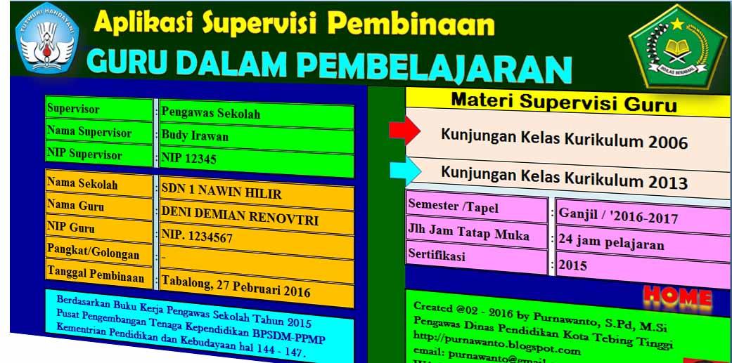 Aplikasi Supervisi Kunjungan Kelas Kurikulum 2013 Dan Ktsp Kurikulum 2013 Revisi
