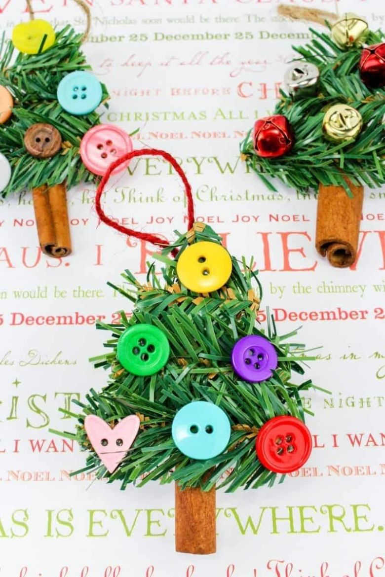 Cinnamon stick Christmas tree craft for kids