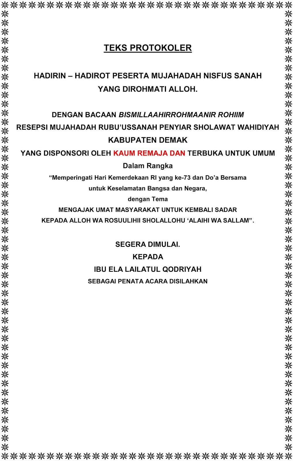 Teks Protokoler Acara Wahidiyah