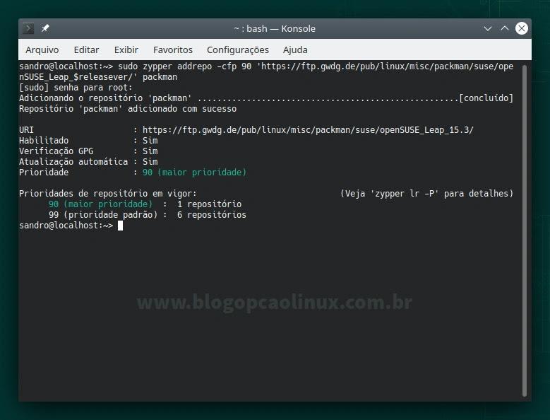 Adicionando o repositório Packman no openSUSE Leap 15.3
