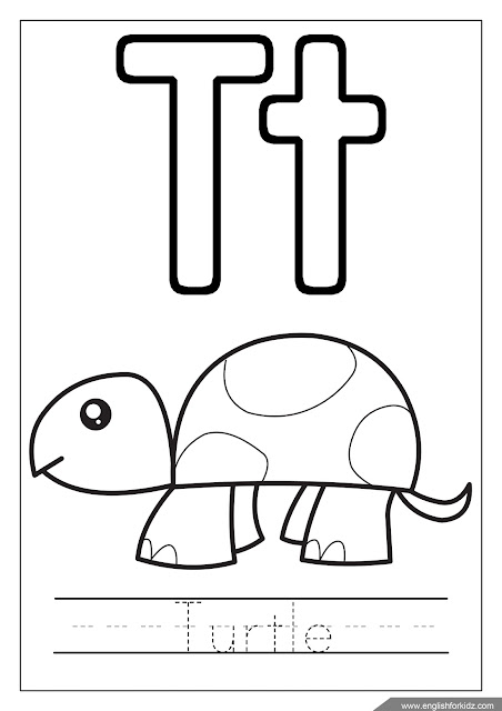 Letter t coloring, turtle coloring, alphabet coloring page