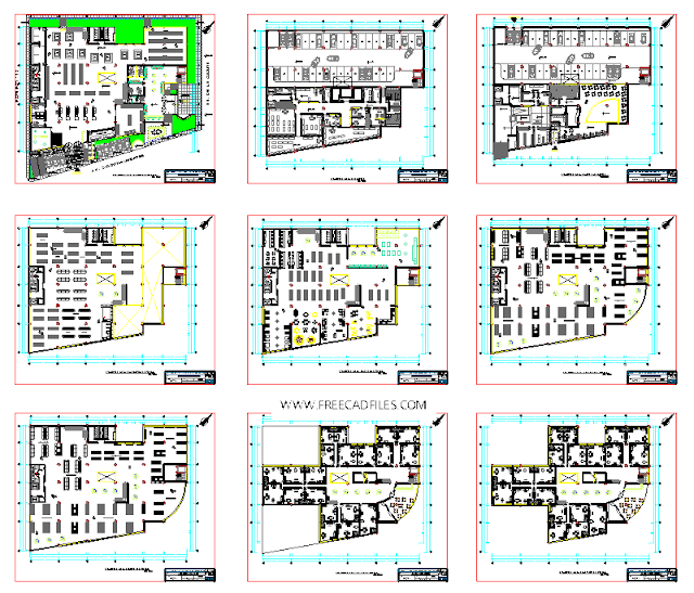 Floors of a mall, office, and leisure DWG