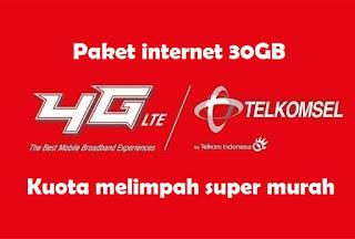 cara daftar Paket Internet Telkomsel 30GB Rp 30000 Terbaru
