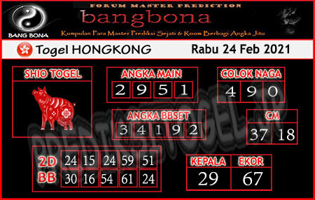 Prediksi Bangbona HK Rabu 24 Februari 2021