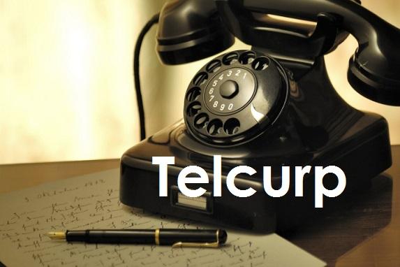 Aparato Telefonico en color negro con texto de Telcurp