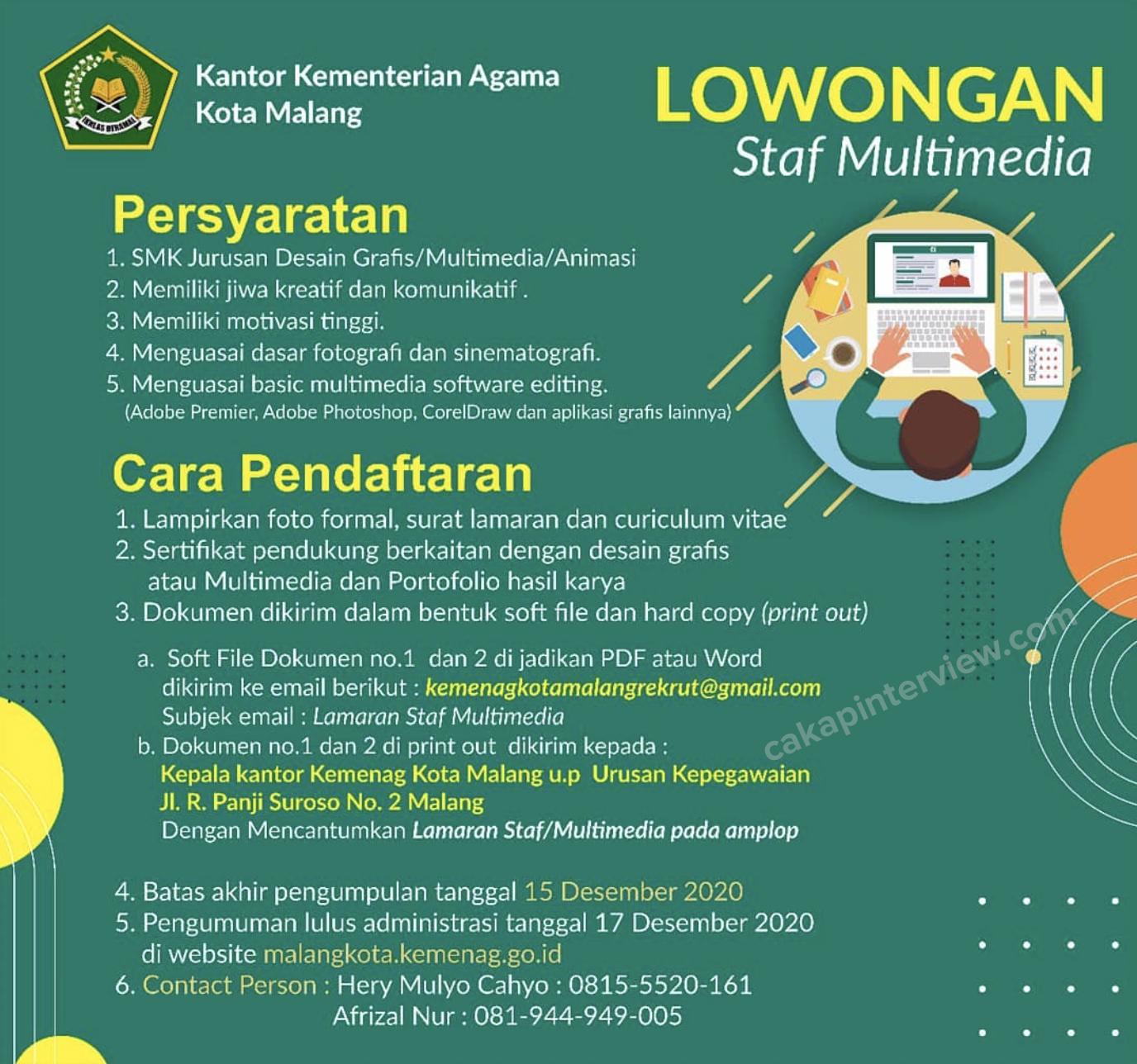 Lowongan Kerja Lowongan Kerja Sma Smk Kementerian Agama Kota Malang Desember 2020