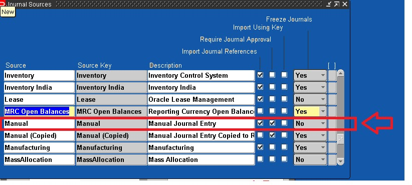 Journal source in oracle