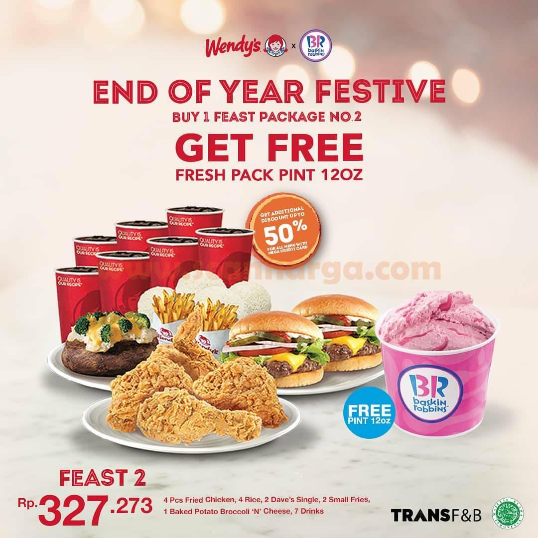 Promo Wendys X Baskin Robbins – Beli Paket Feast 2 GRATIS Ice Cream PINT 12oz