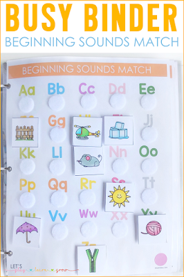 Beginning Sounds Match Busy Binder