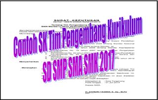 Contoh SK Tim Pengembang Kurikulum SD SMP SMA SMK 2017