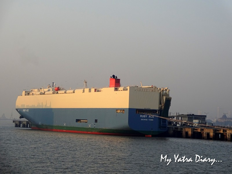 Car carrier cargo ship Ruby Ace seen from M2M Ro-Ro ferry Mumbai to  Alibagh