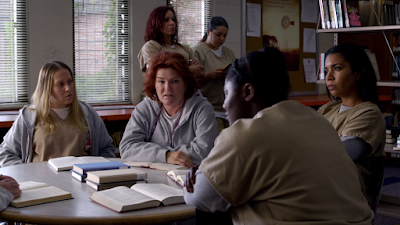 Orange is the new black season 4 Netflix meeting piscatella red library