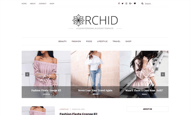 Orchid is a Clean Responsive Personal Blogger Template Free Download Orchid Blogger Template