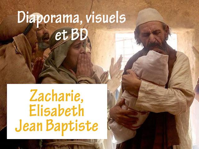 Caté, BD, diaporama : Jean le Baptiste, Zacharie, Elizabeth