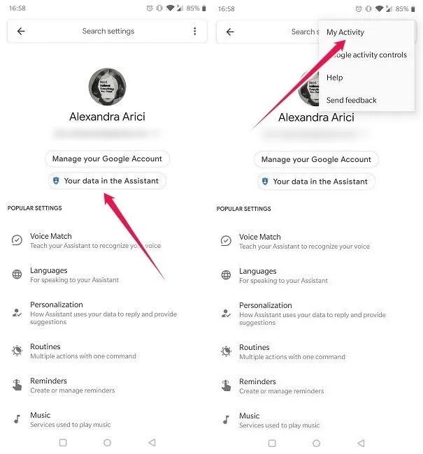 محو Googgle Assistant للأوامر الصوتية بياناتك في المساعد