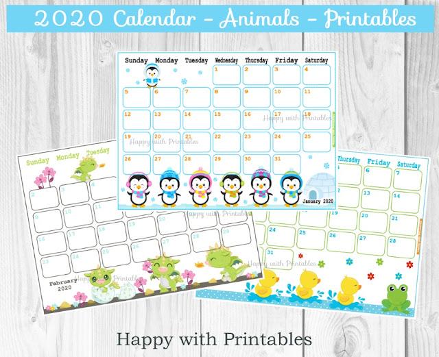 2020 planner, 2020 calendar printable, printable 2020 January, January planner, cute animals theme planner