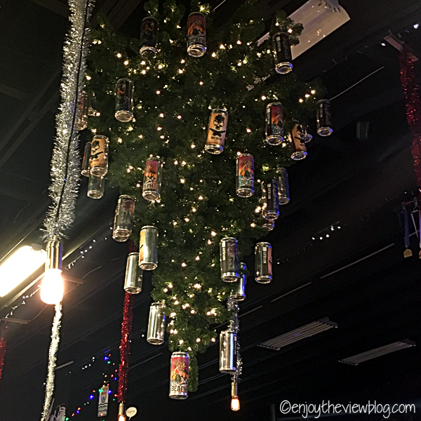 upside-down Christmas tree with beer cans