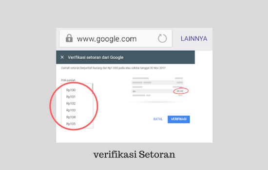 Menyelesaikan verifikasi setoran bank google ke rekening