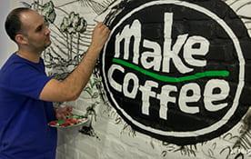 Роспись стен в кафе Make Coffee