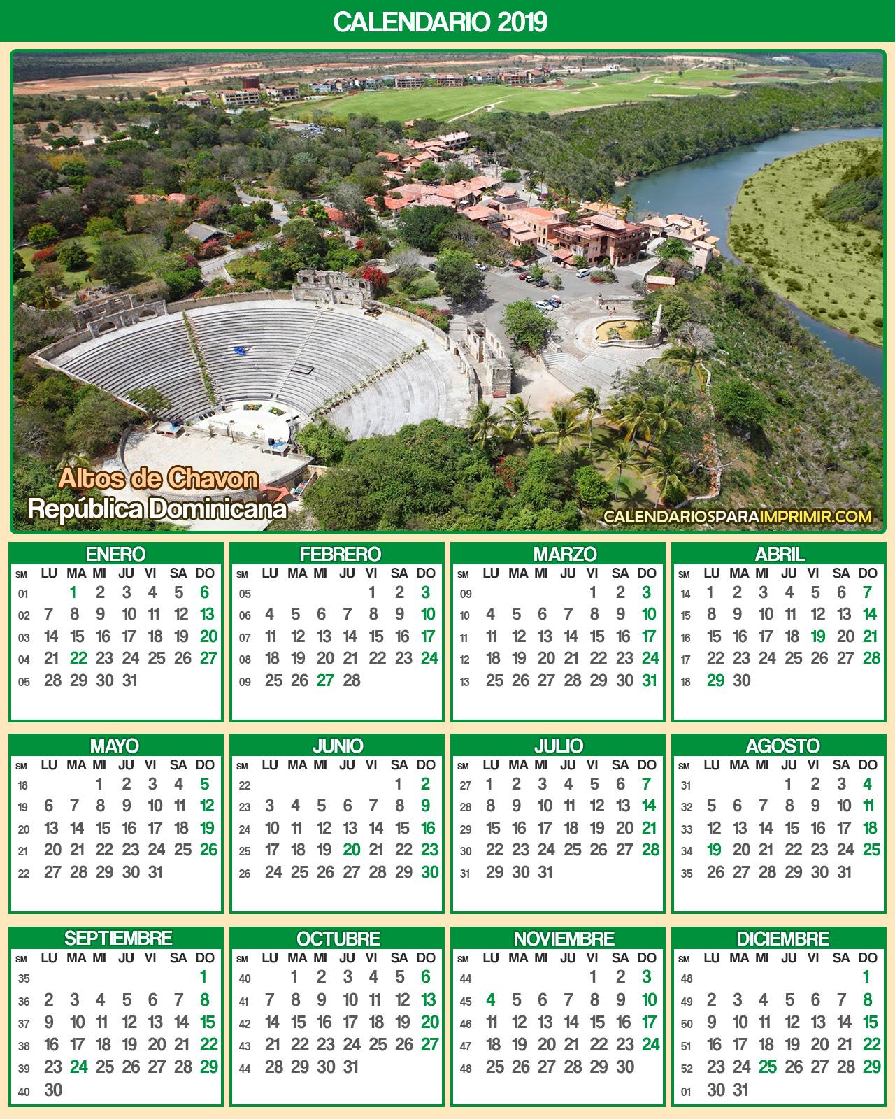 calendario republica dominicana 2019