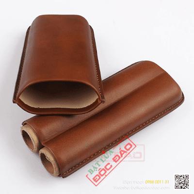 Bán bao da xì gà màu nâu 2 điếu Cohiba 1101L cao cấp