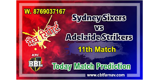 BBL T20 Today Match Prediction Sixers vs Adelaide 11th 100% Sure Winner