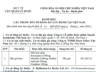Công văn rút số đăng ký Dầu gió Kim của Cục quản lý Dược