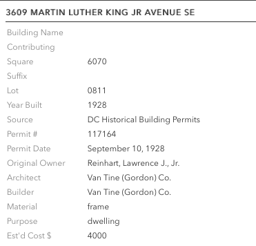 building permit for Gordon Van Tine home in Washington DC