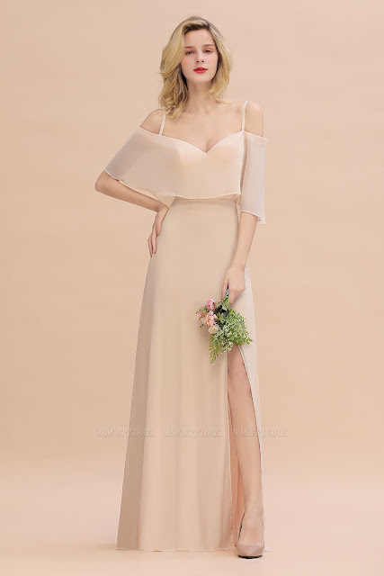 Spaghetti Straps Flounced Crinkle Bridesmaid Dress