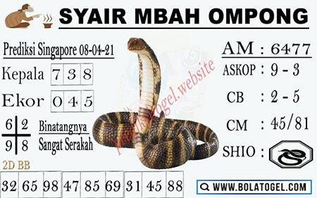 Syair Mbah Ompong SGP Kamis 08-Apr-2021