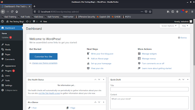 Wordpress admin dashboard on Kali Linux