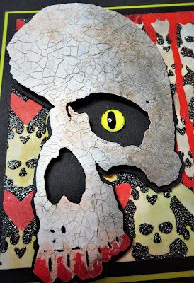 skull stencil - crackle paste