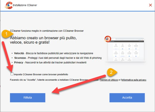 rifiuto installazione browser ccleaner