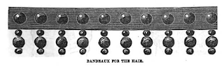 "Velvet bead ""bandeau"" from Peterson's, 1858"